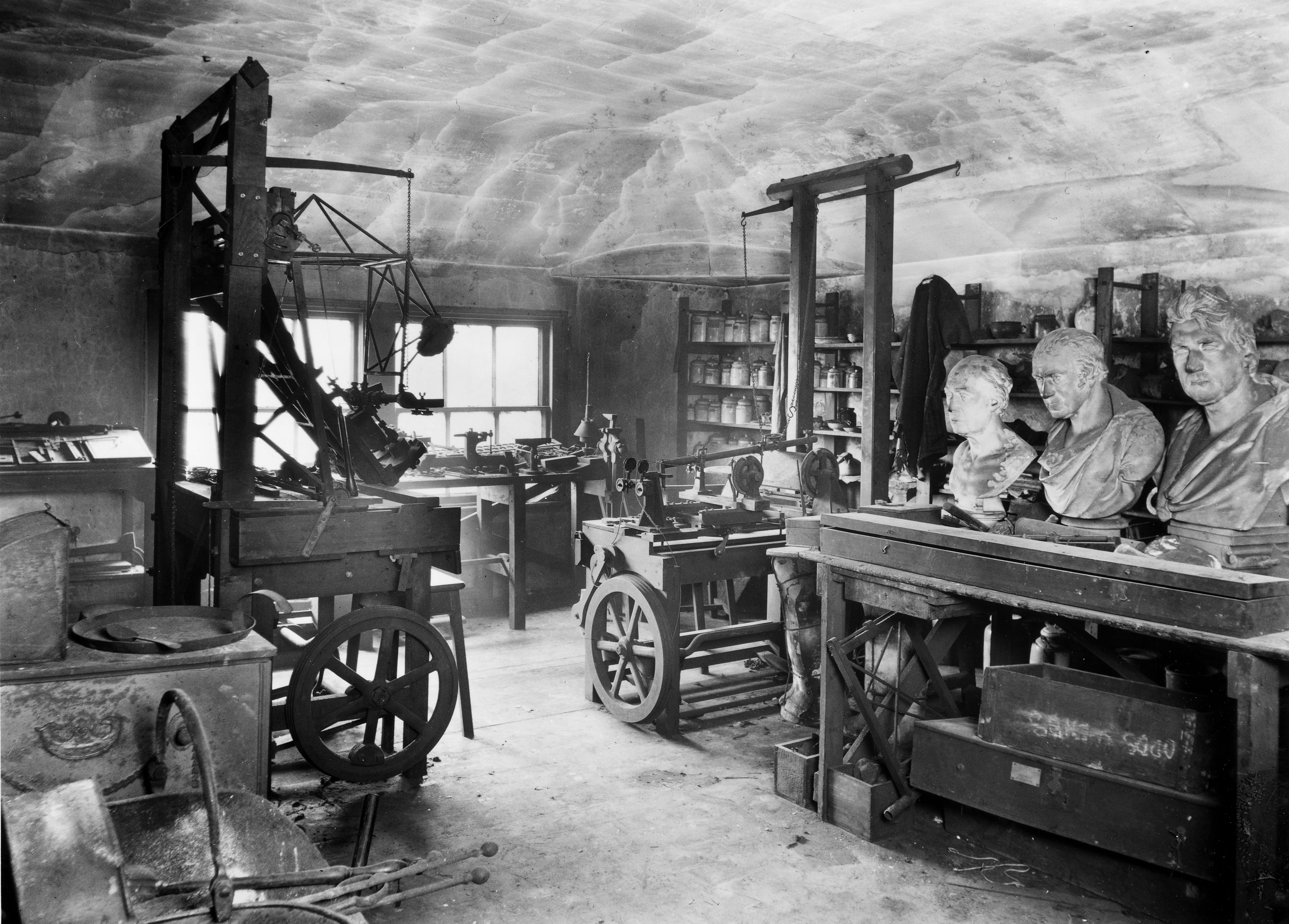 Image: The workshop of James Watt (1736-1819), December 1924. One of four photographs taken at Heathfield by J Willoughby Harr © Science Museum/Science & Society Picture Library