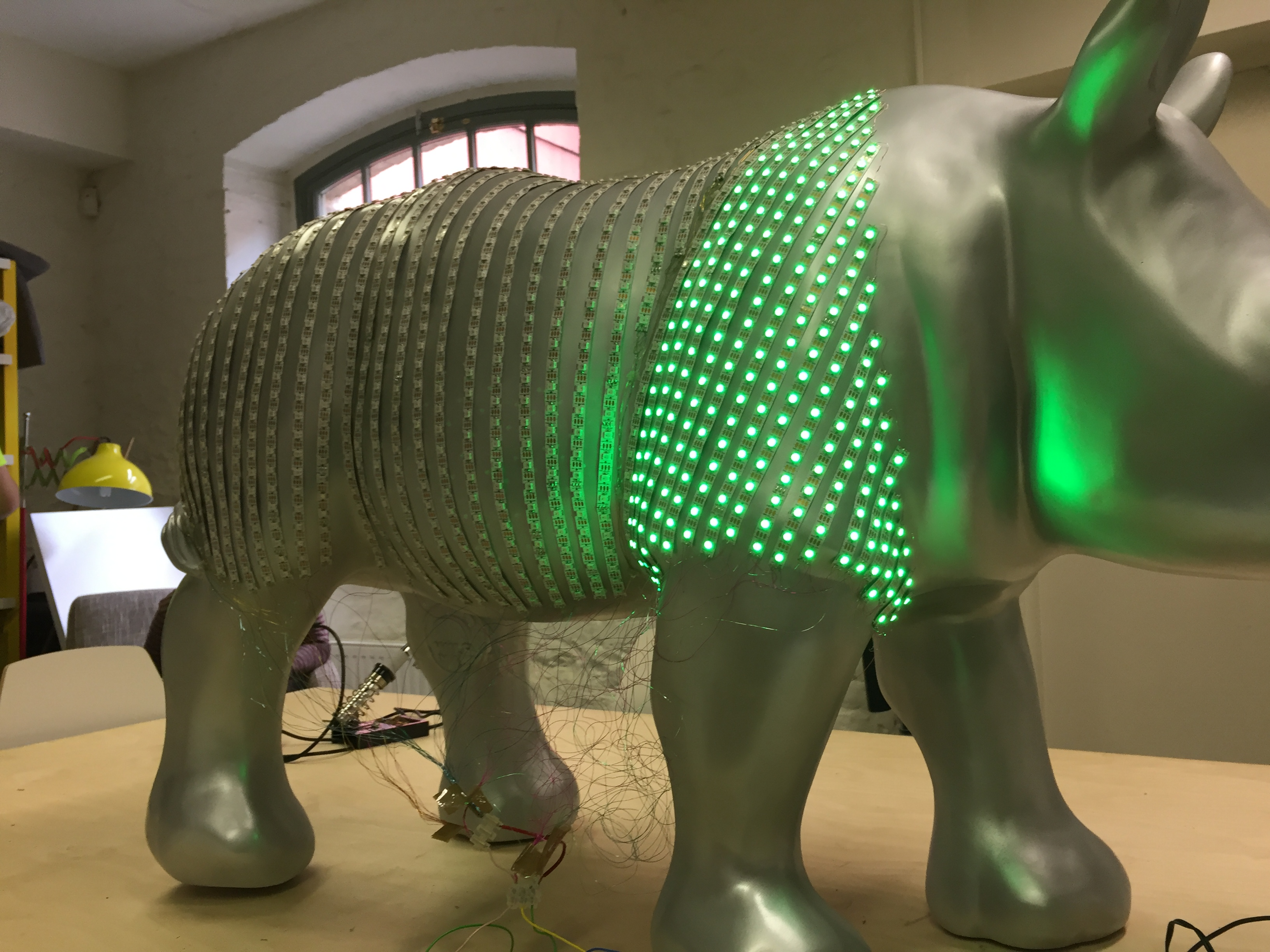 Image2: Testing LEDs on the body of the rhino