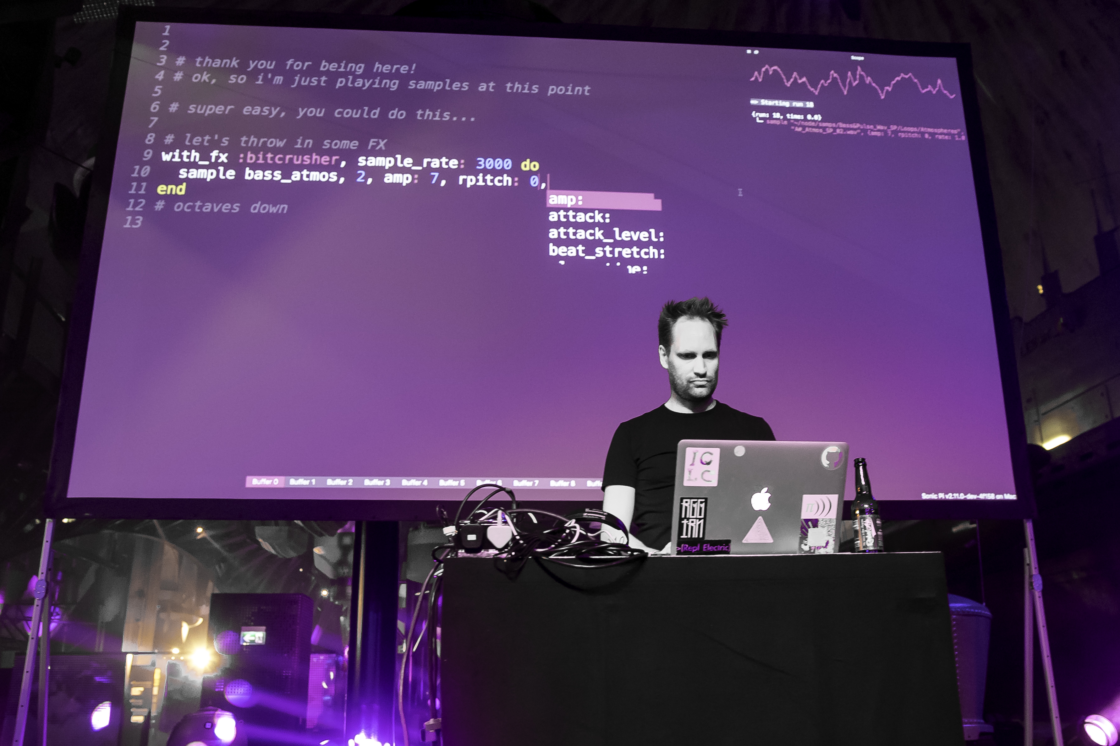 Image: Dr Sam Aaron, inventor of Sonic Pi, performs live coding for nightclub partygoers